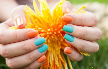 turquoise and orange for summer nails