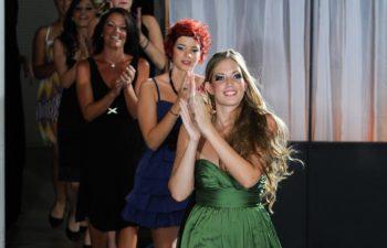 model walking down runway during fashion show