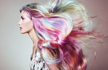 girl with a colorful hairstyle