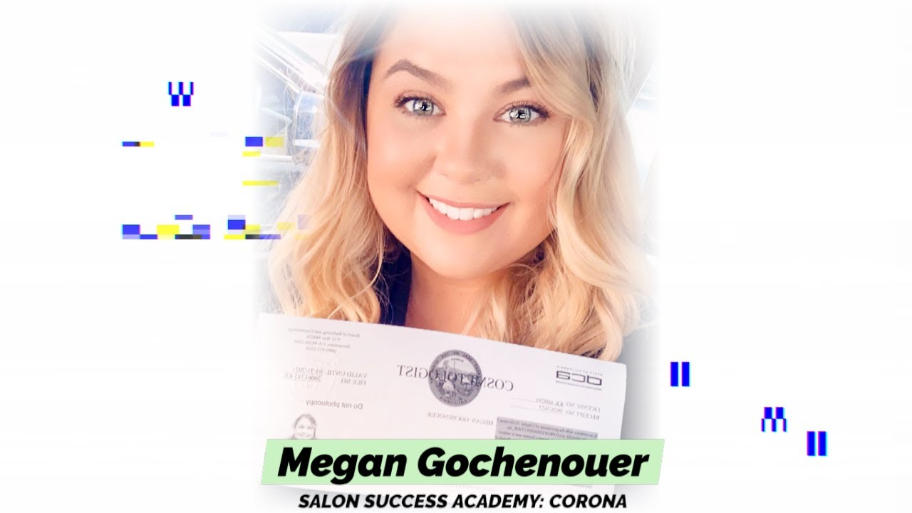 Megan Gochenouer graduates from the cosmetology program at Salon Success Academy, a beauty school in Corona California, and becomes a licensed cosmetologist