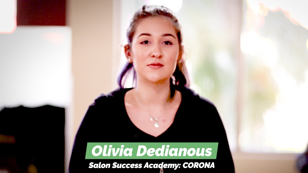 Olivia Dedianous graduates from the cosmetology program at Salon Success Academy, a beauty school in Corona California, and becomes a licensed cosmetologist