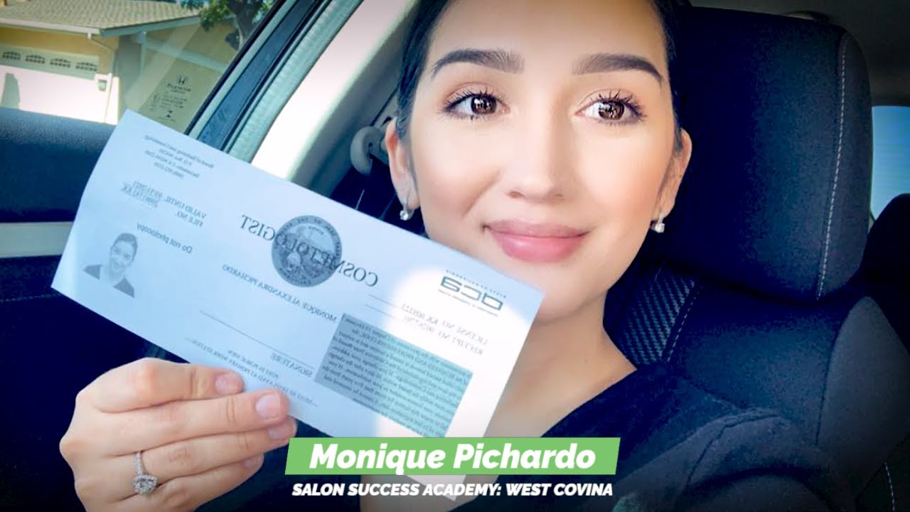 Monique Pichardo graduates from the cosmetology program at Salon Success Academy, a beauty school in West Covina California, and becomes a licensed cosmetologist