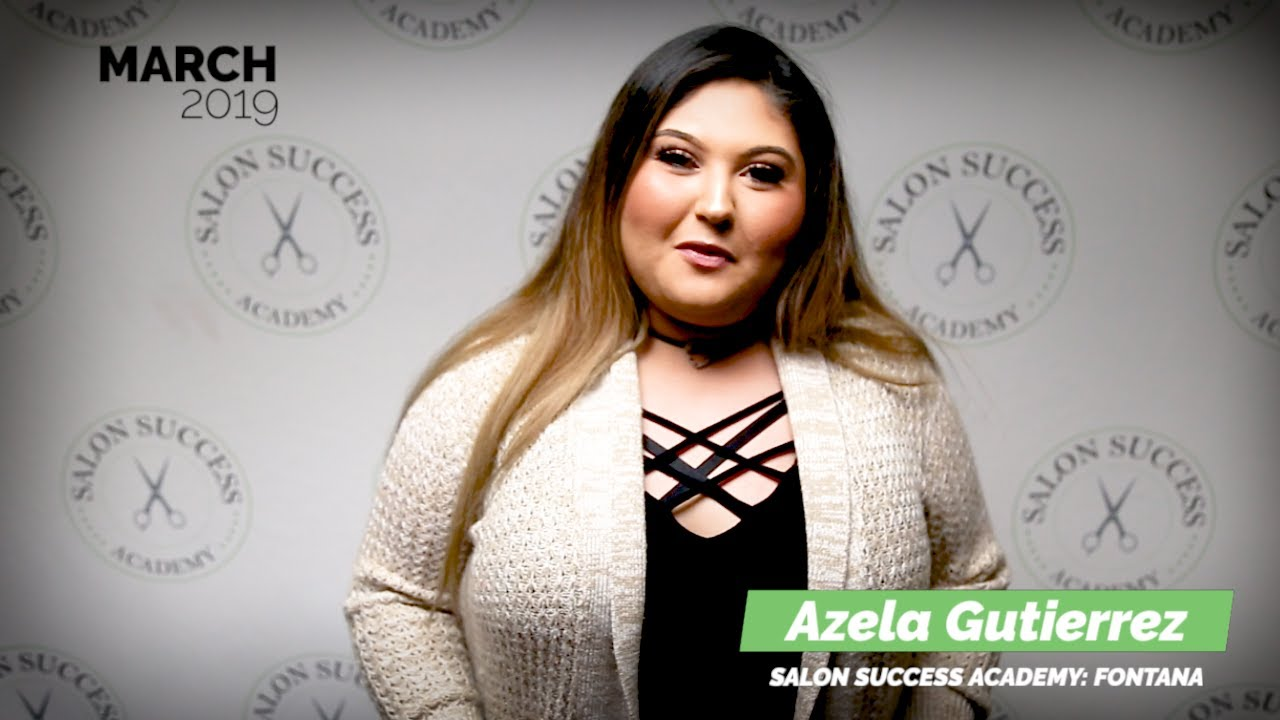 Azela Gutierrez graduates from the cosmetology program at Salon Success Academy, a beauty school in Fontana California, and becomes a licensed cosmetologist