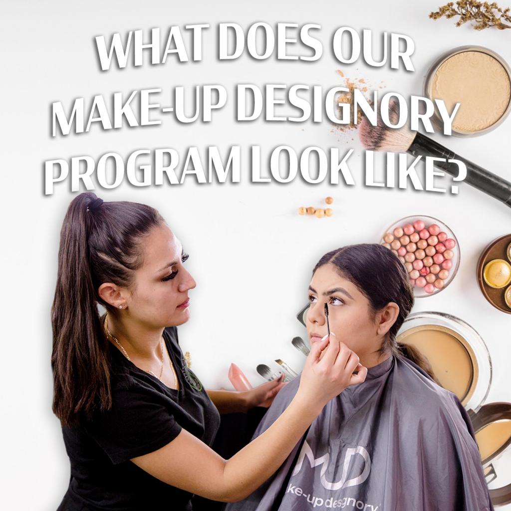 student applying makeup in mud program