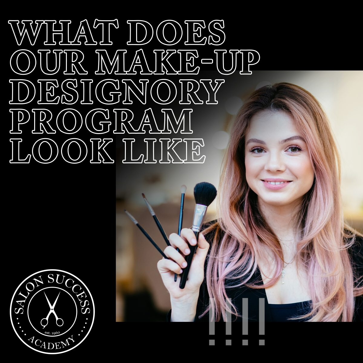 woman holding a makeup brush with the title of the blog overlayed