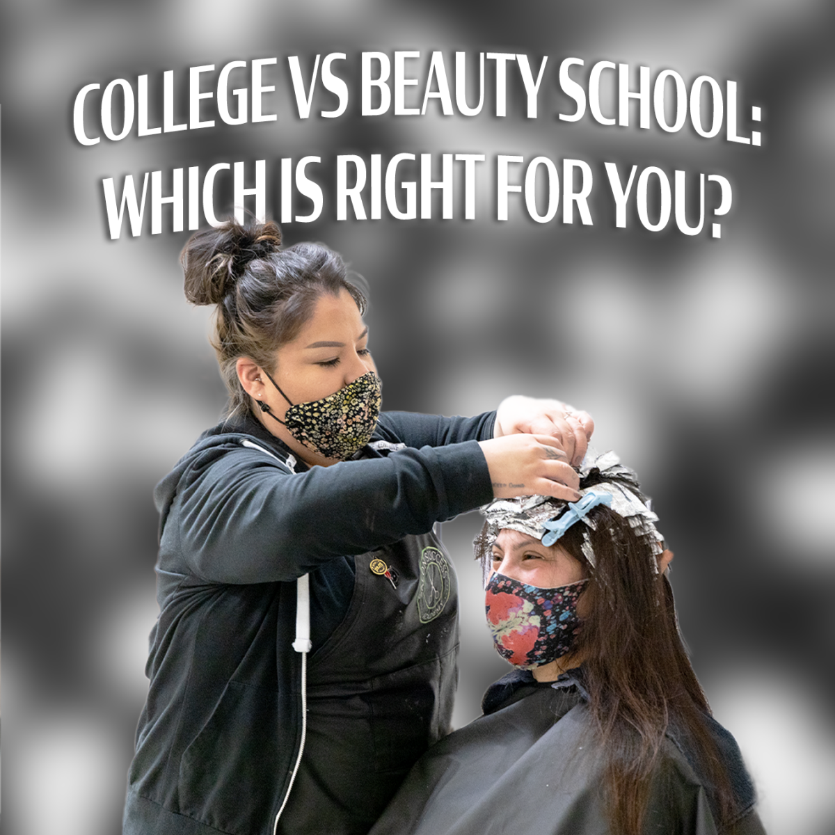 """graphic with text reading """"traditional college vs beauty school"""""""