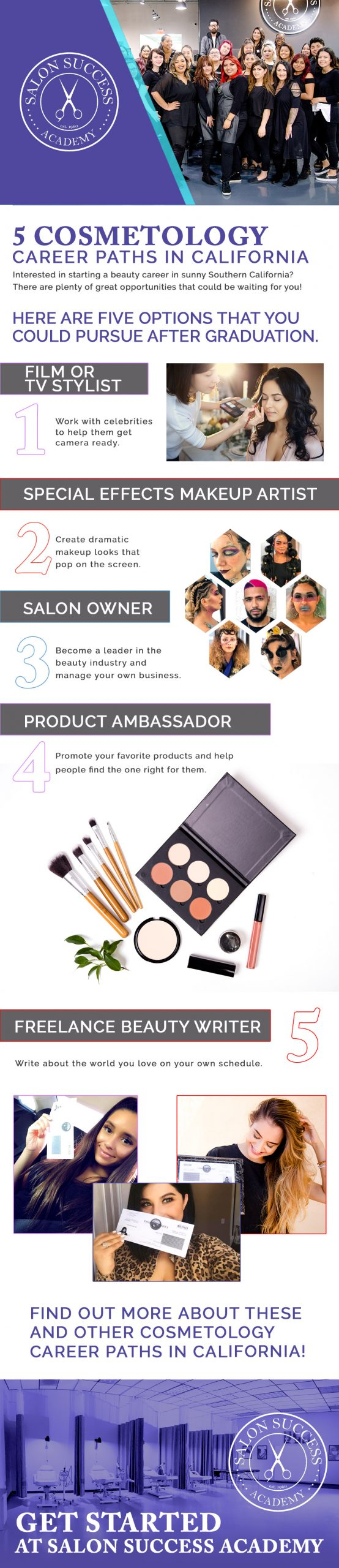 infographic details 5 career paths for cosmetologists in california
