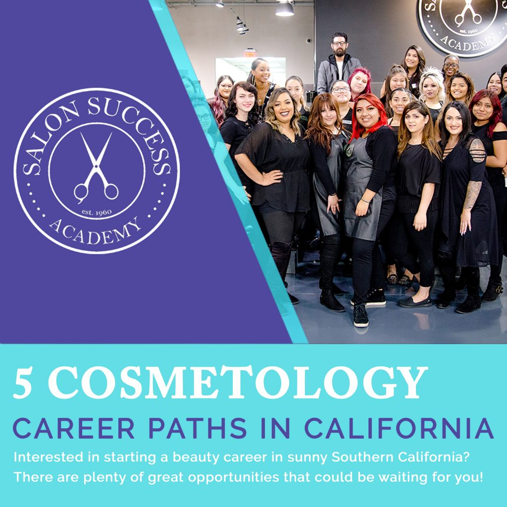 """students at SSA gathered in a graphic with text reading """"5 cosmetology career paths in california"""""""